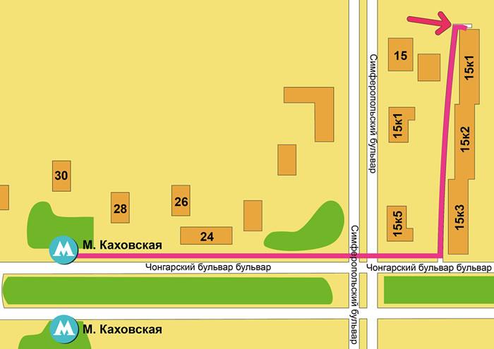 Как дойти до пункта самовывоза от метро Каховская